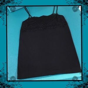 BANANA REPUBLIC BLACK LACE TRIM CAMI M